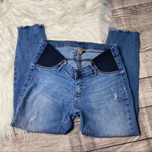 Indigo Blue Maternity Raw Hem Crop Jeans